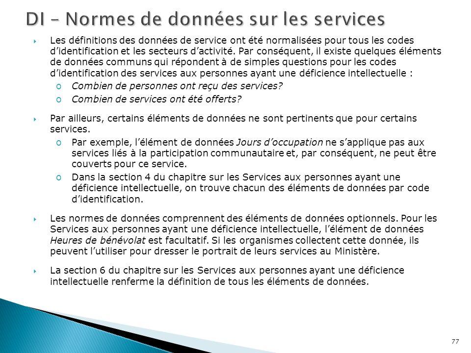DI – Normes de données sur les services