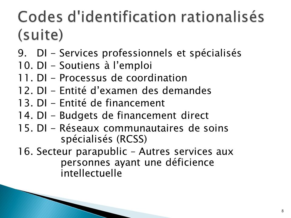 Codes d identification rationalisés (suite)