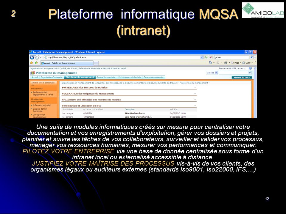 Plateforme informatique MQSA (intranet)