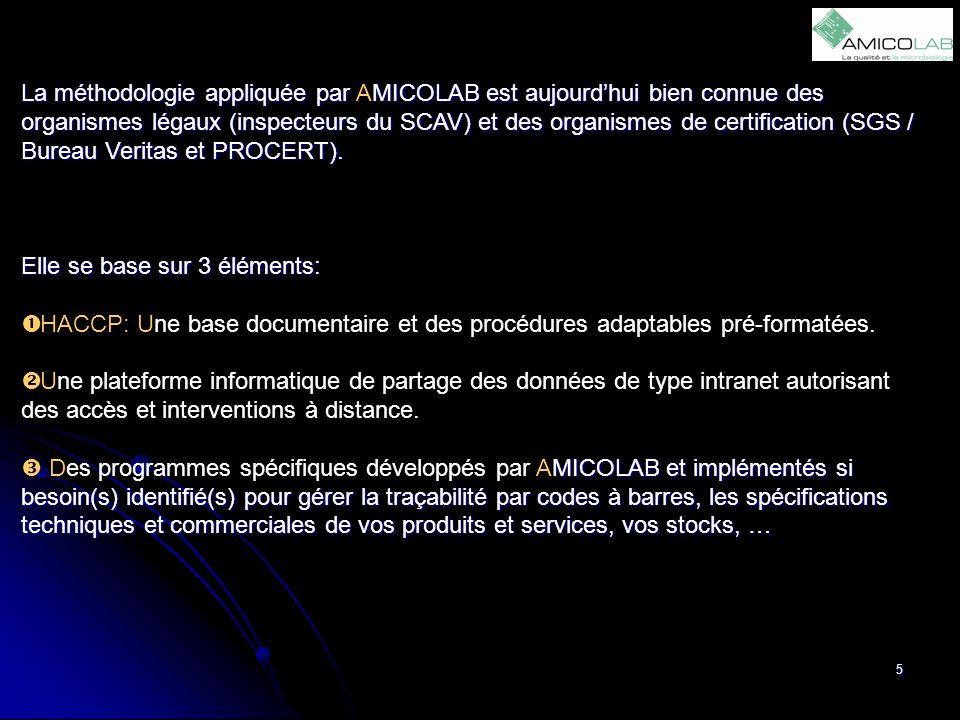 La méthodologie appliquée par AMICOLAB est aujourd'hui bien connue des organismes légaux (inspecteurs du SCAV) et des organismes de certification (SGS / Bureau Veritas et PROCERT).