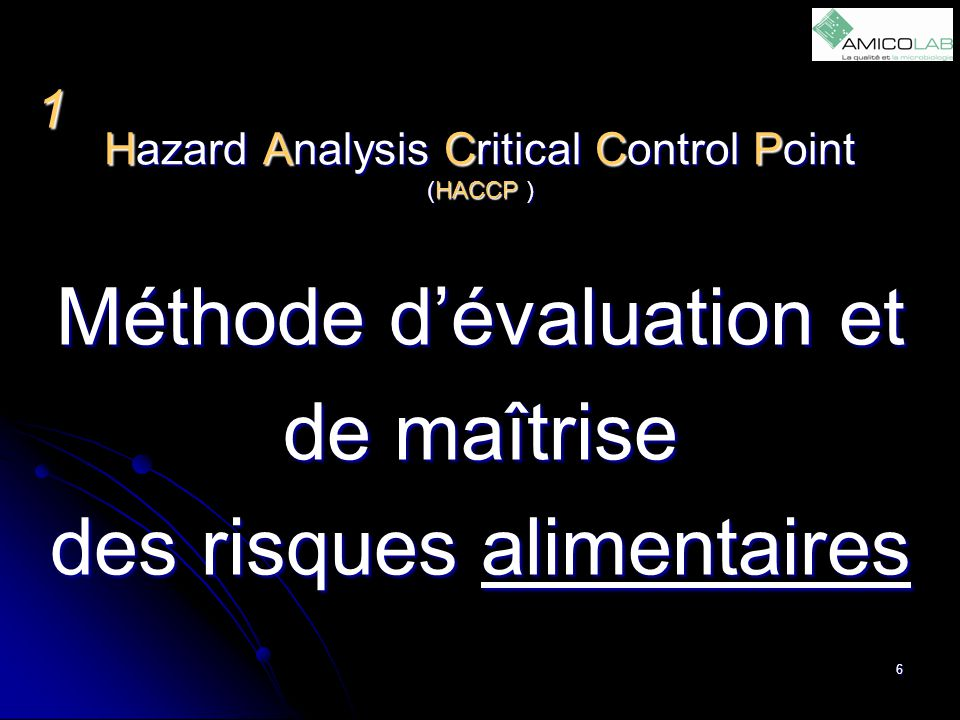 Hazard Analysis Critical Control Point (HACCP )