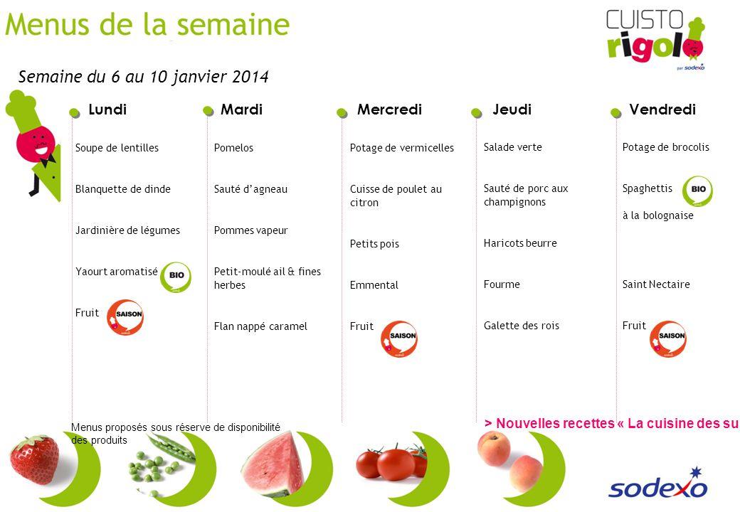 Semaine du 6 au 10 janvier 2014 Soupe de lentilles. Blanquette de dinde. Jardinière de légumes. Yaourt aromatisé.