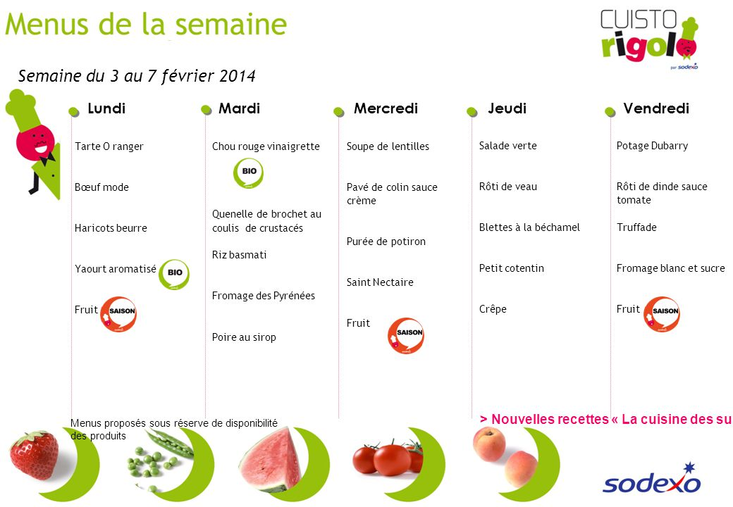Semaine du 3 au 7 février 2014 Tarte O ranger. Bœuf mode. Haricots beurre. Yaourt aromatisé. Fruit.