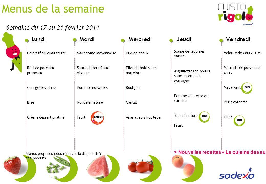 Semaine du 17 au 21 février 2014 Soupe de légumes variés. Aiguillettes de poulet sauce crème et estragon.