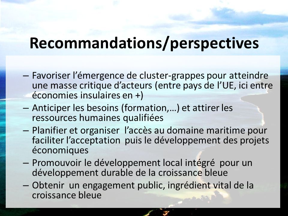 Recommandations/perspectives