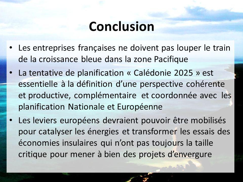 Conclusion Les entreprises françaises ne doivent pas louper le train de la croissance bleue dans la zone Pacifique.
