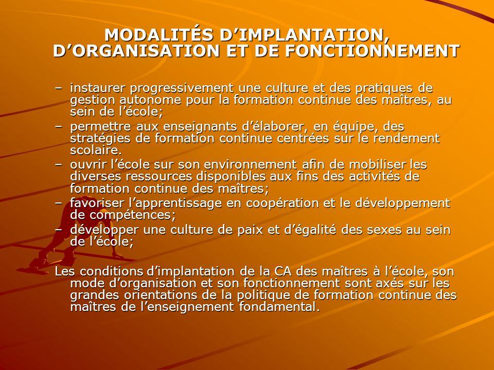 MODALITÉS D'IMPLANTATION, D'ORGANISATION ET DE FONCTIONNEMENT