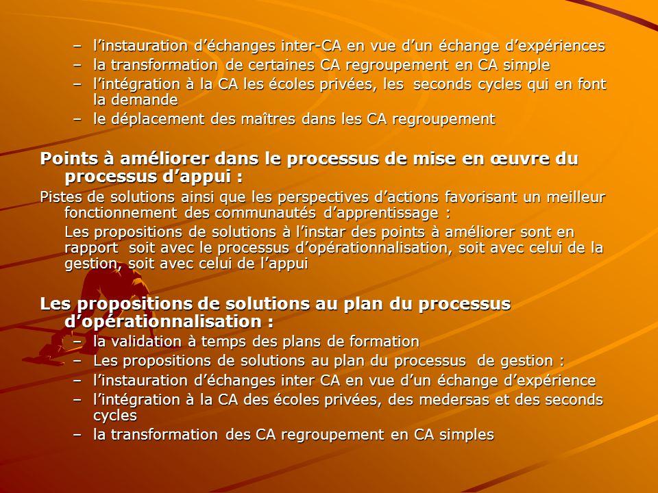 l'instauration d'échanges inter-CA en vue d'un échange d'expériences