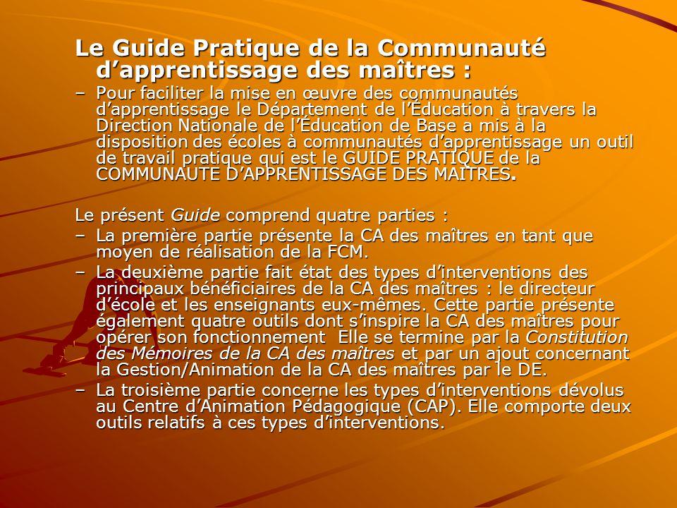 Le Guide Pratique de la Communauté d'apprentissage des maîtres :
