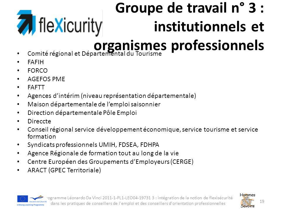 Groupe de travail n° 3 : institutionnels et organismes professionnels