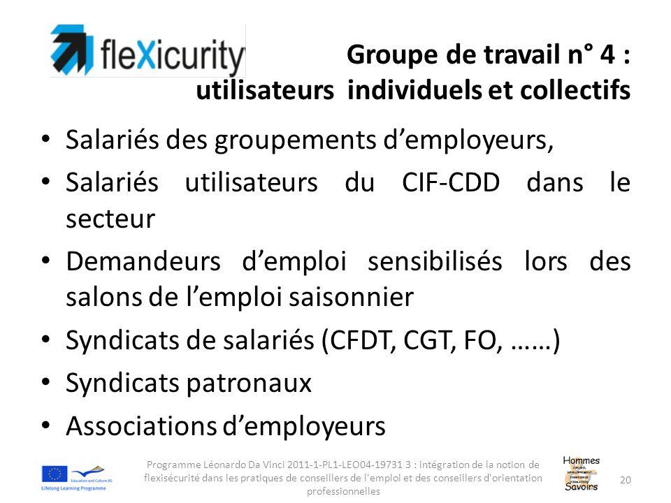 Groupe de travail n° 4 : utilisateurs individuels et collectifs