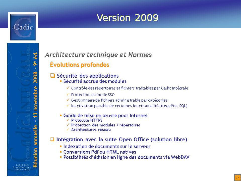 Version 2009 Architecture technique et Normes Évolutions profondes