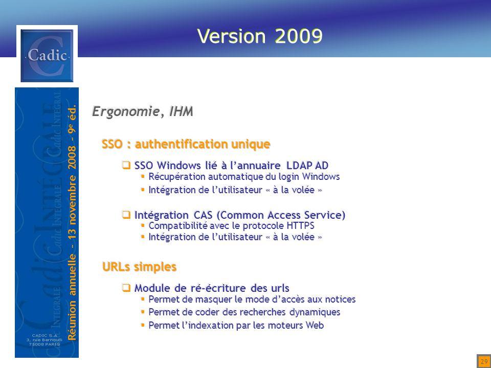 Version 2009 Ergonomie, IHM SSO : authentification unique URLs simples