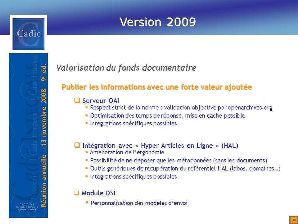 Version 2009 Valorisation du fonds documentaire