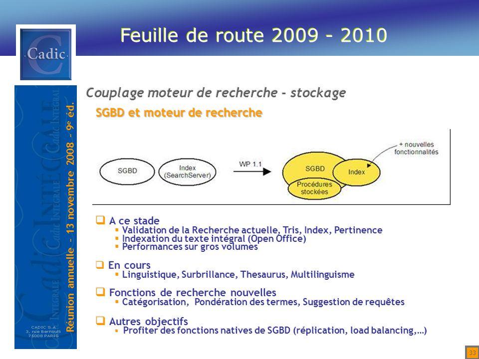 Feuille de route 2009 - 2010 Couplage moteur de recherche - stockage