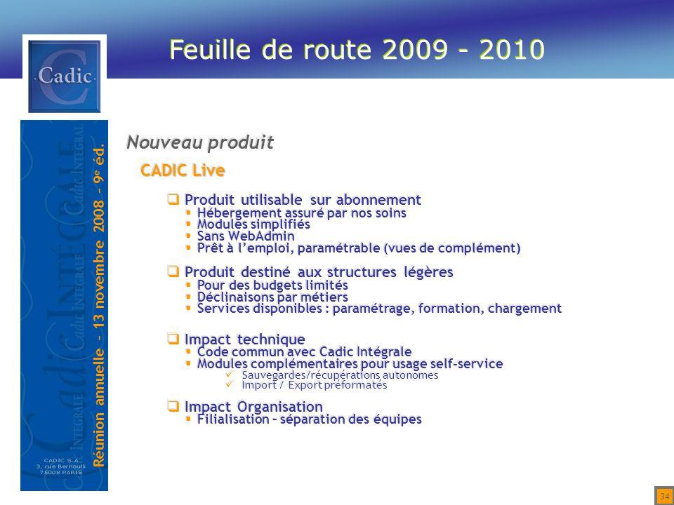 Feuille de route 2009 - 2010 Nouveau produit CADIC Live