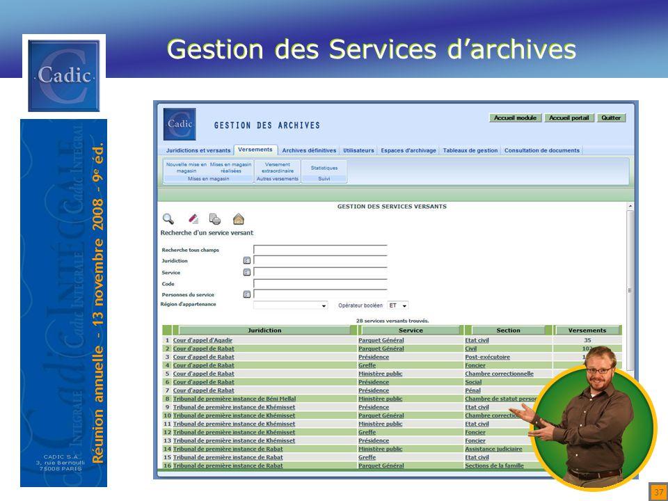 Gestion des Services d'archives