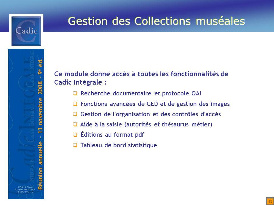 Gestion des Collections muséales