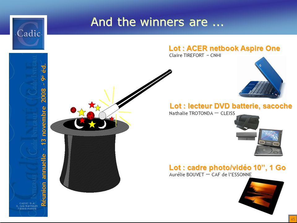 And the winners are ... Lot : ACER netbook Aspire One