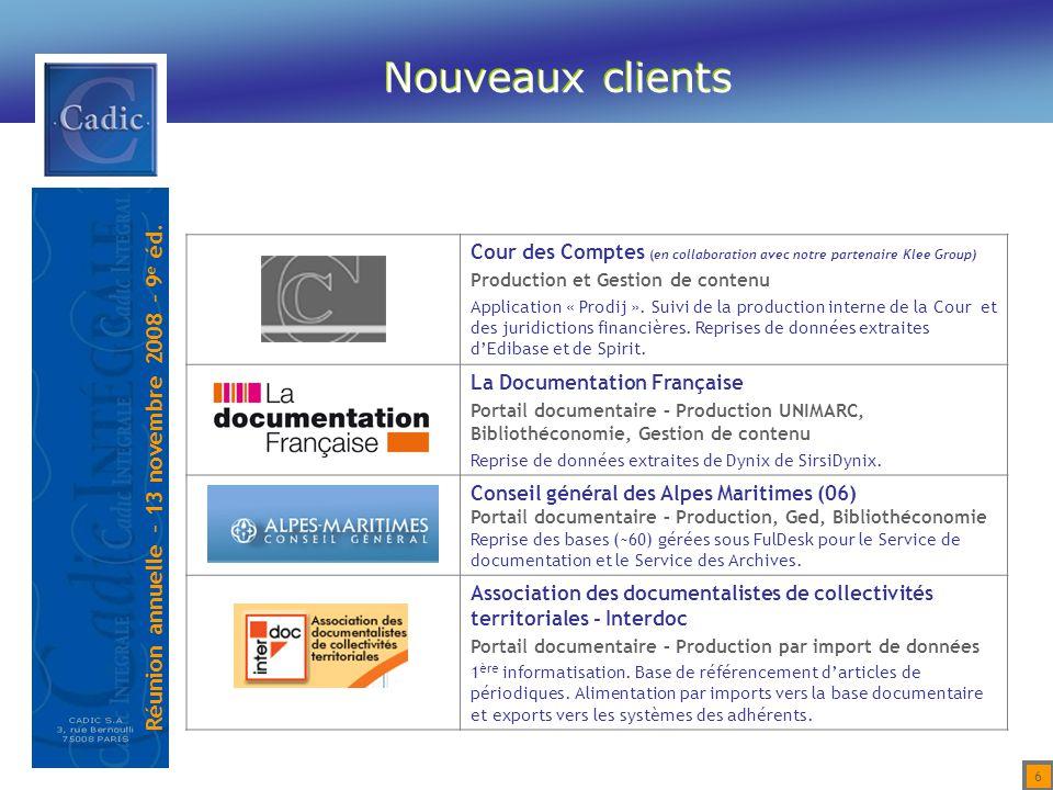 Nouveaux clients Cour des Comptes (en collaboration avec notre partenaire Klee Group) Production et Gestion de contenu.