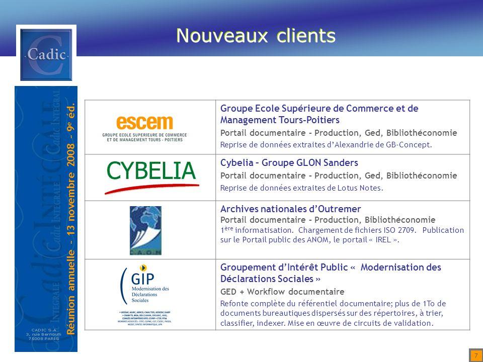 Nouveaux clients Groupe Ecole Supérieure de Commerce et de Management Tours-Poitiers. Portail documentaire – Production, Ged, Bibliothéconomie.