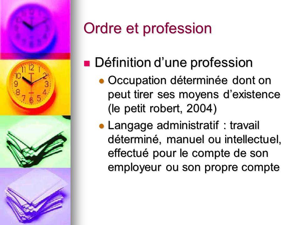 Ordre et profession Définition d'une profession