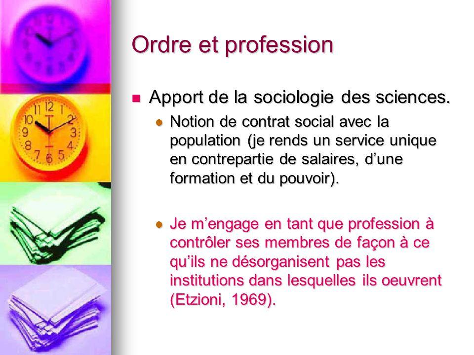 Ordre et profession Apport de la sociologie des sciences.