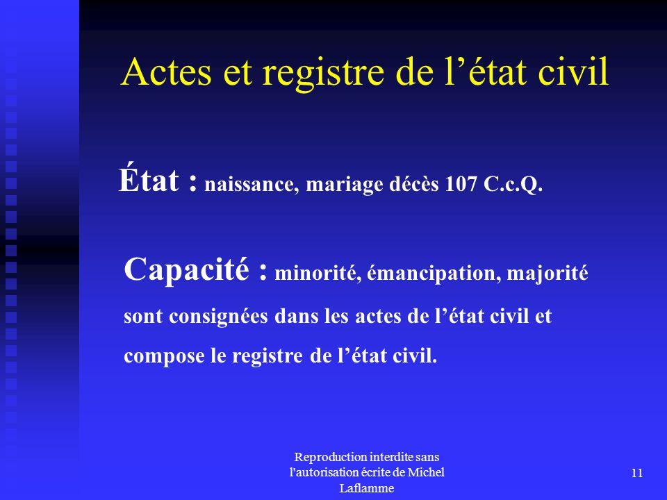 Actes et registre de l'état civil