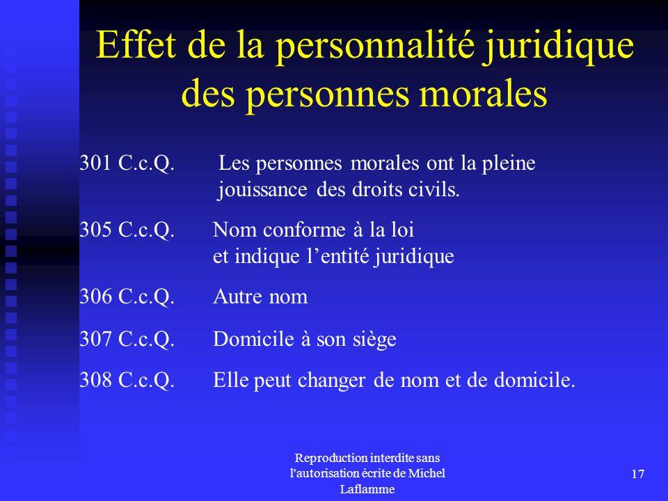 Effet de la personnalité juridique des personnes morales