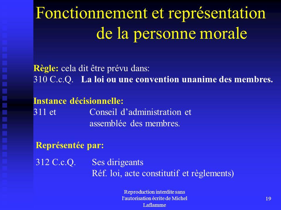Fonctionnement et représentation de la personne morale