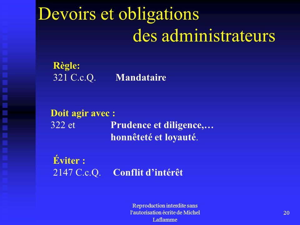 Devoirs et obligations des administrateurs