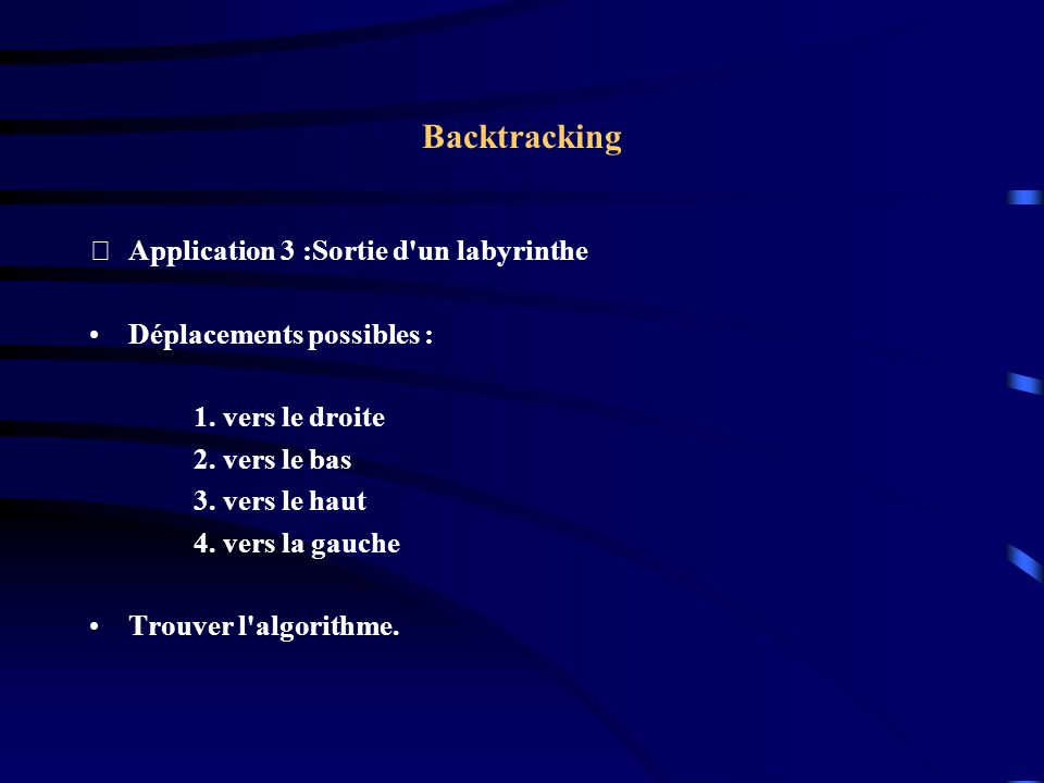 Backtracking Application 3 :Sortie d un labyrinthe