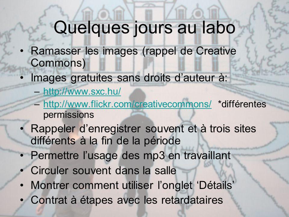Quelques jours au labo Ramasser les images (rappel de Creative Commons) Images gratuites sans droits d'auteur à: