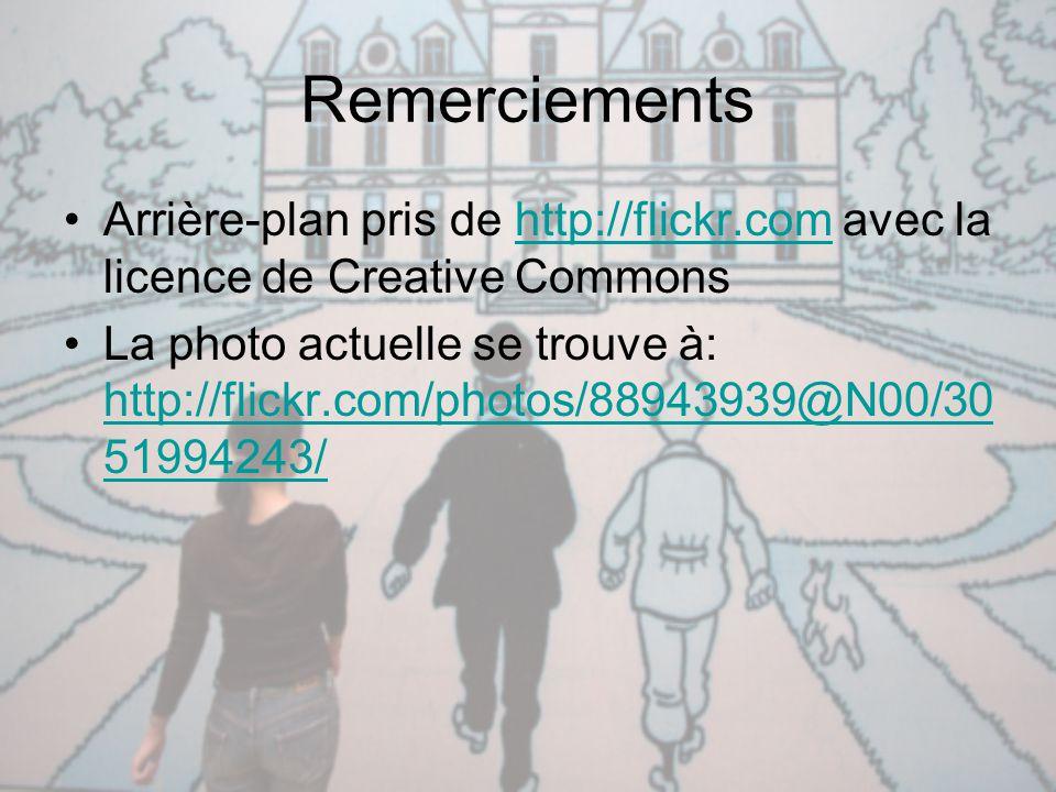 Remerciements Arrière-plan pris de http://flickr.com avec la licence de Creative Commons.