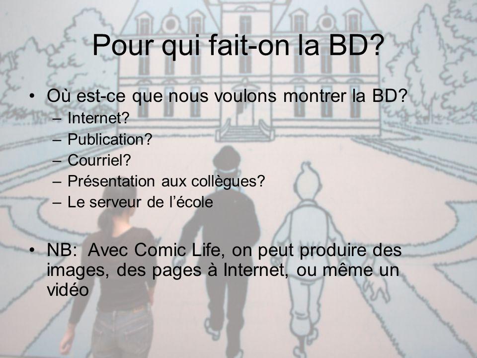 Pour qui fait-on la BD Où est-ce que nous voulons montrer la BD