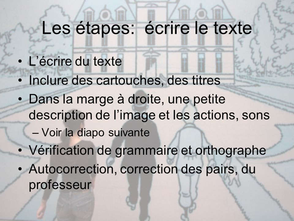 Les étapes: écrire le texte