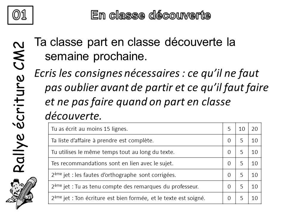 Rallye écriture CM2 01 En classe découverte