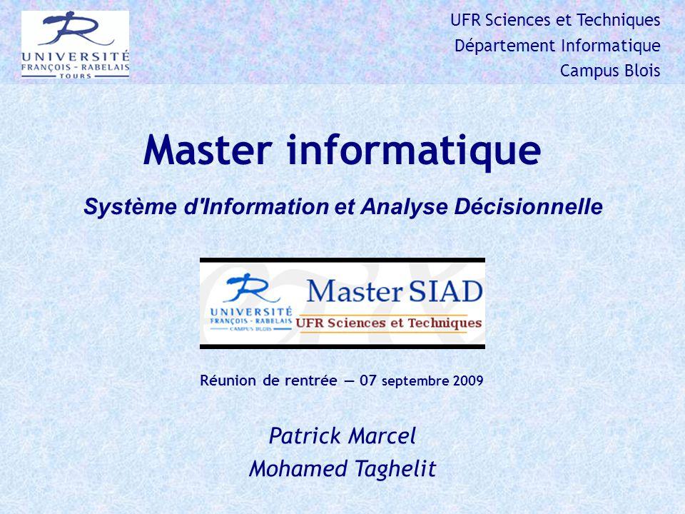 Master informatique Système d Information et Analyse Décisionnelle