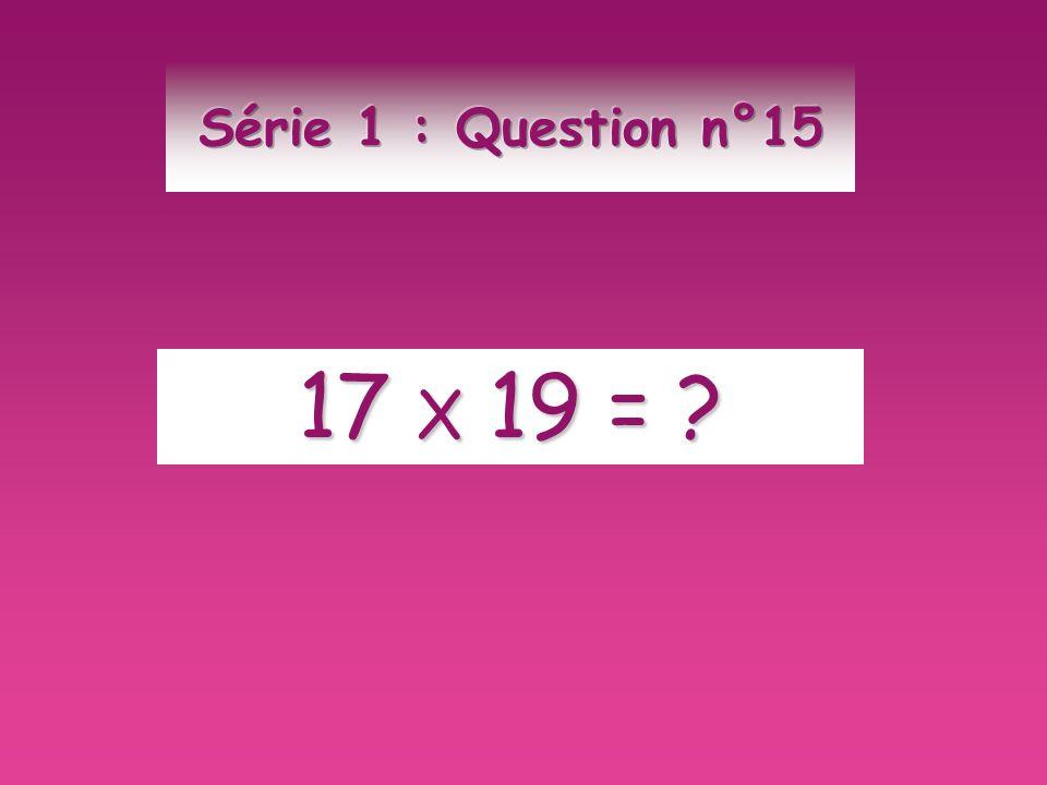 Série 1 : Question n°15 17 X 19 =