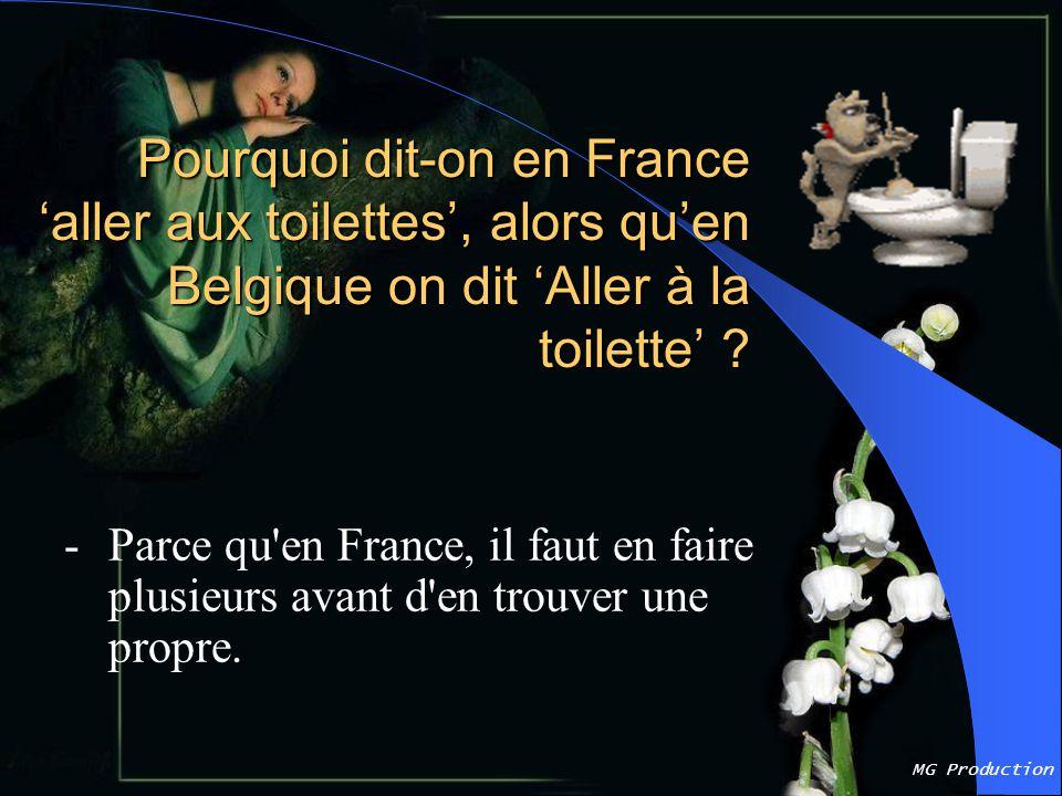 Pourquoi dit-on en France 'aller aux toilettes', alors qu'en Belgique on dit 'Aller à la toilette'