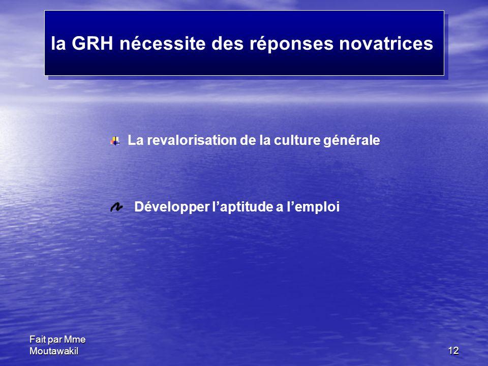 la GRH nécessite des réponses novatrices