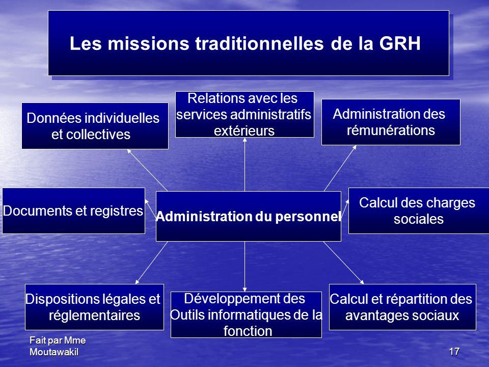 Les missions traditionnelles de la GRH Administration du personnel