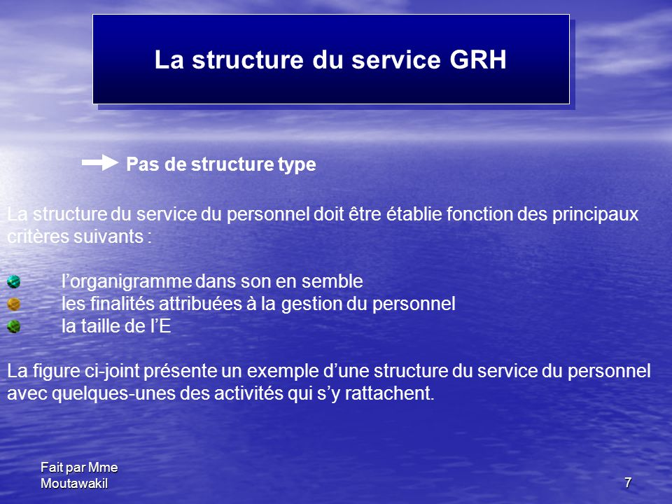 La structure du service GRH