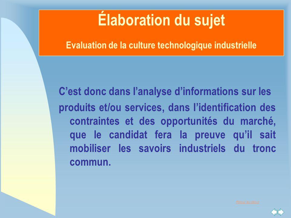 Élaboration du sujet Evaluation de la culture technologique industrielle