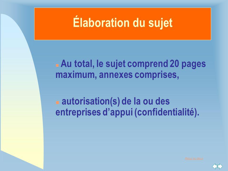 Élaboration du sujet Au total, le sujet comprend 20 pages maximum, annexes comprises,