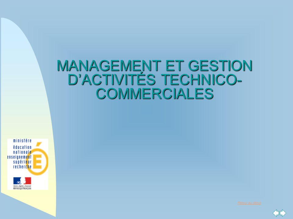 MANAGEMENT ET GESTION D'ACTIVITÉS TECHNICO-COMMERCIALES