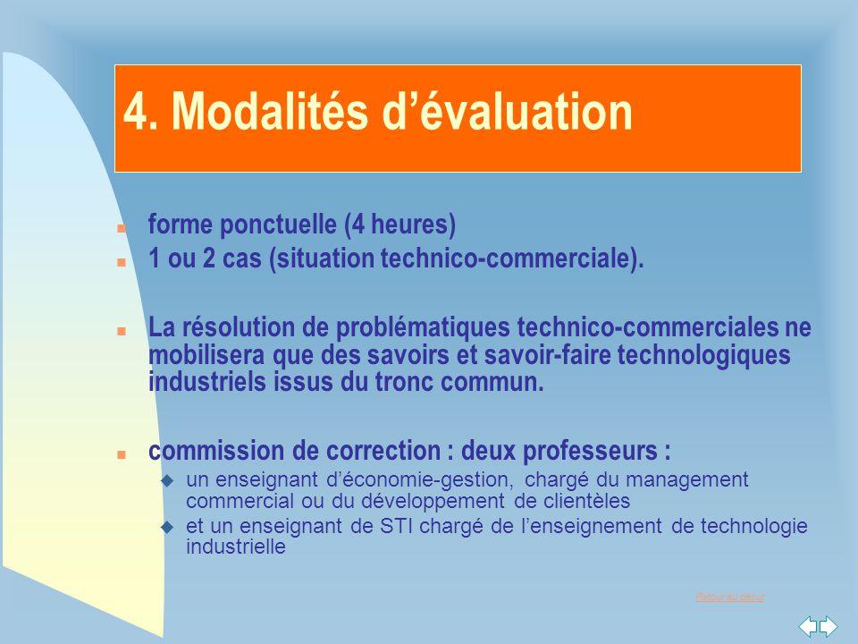4. Modalités d'évaluation