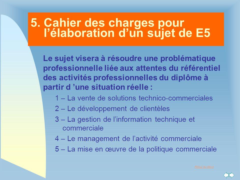 5. Cahier des charges pour l'élaboration d'un sujet de E5