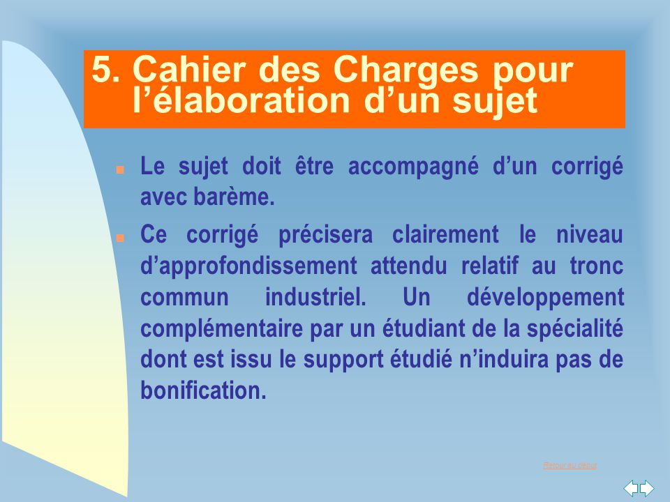 5. Cahier des Charges pour l'élaboration d'un sujet
