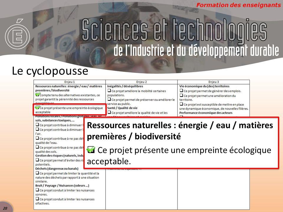 Le cyclopousse Ressources naturelles : énergie / eau / matières premières / biodiversité.